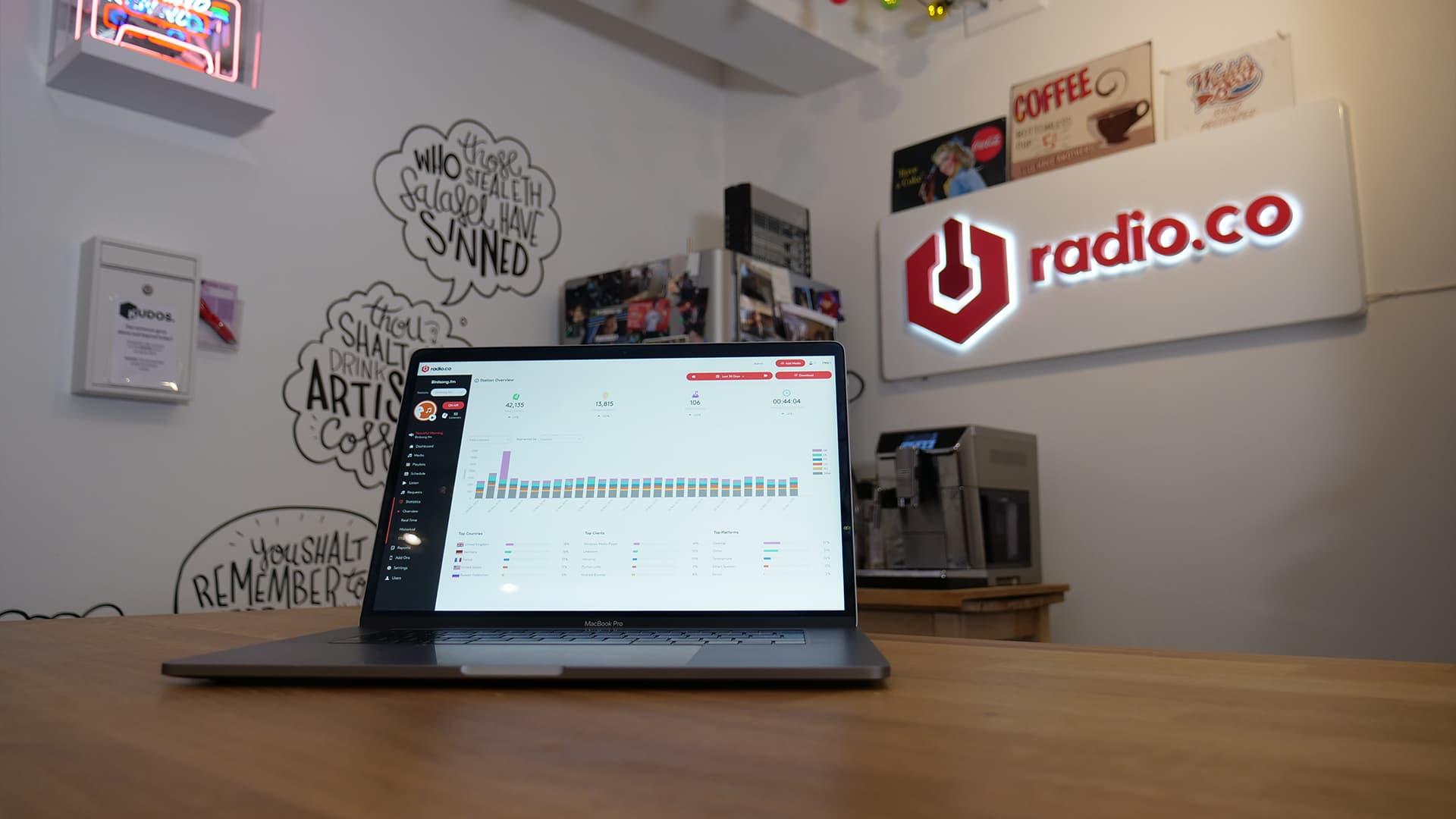 Start an Internet Radio Station: Radio.co on laptop