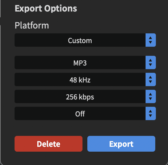 Rode Connect Setup for Radio Export Options