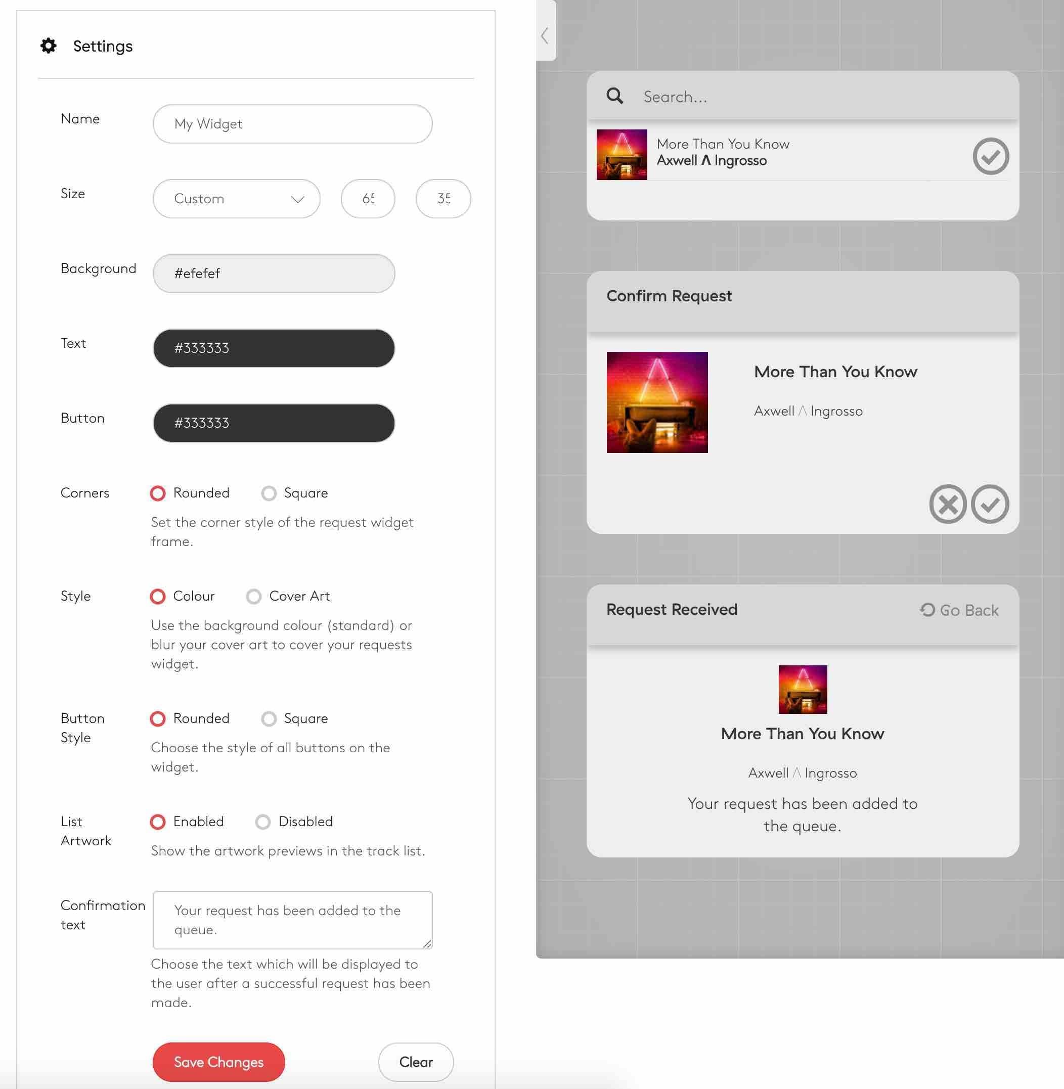 Song Requests Widget Editor