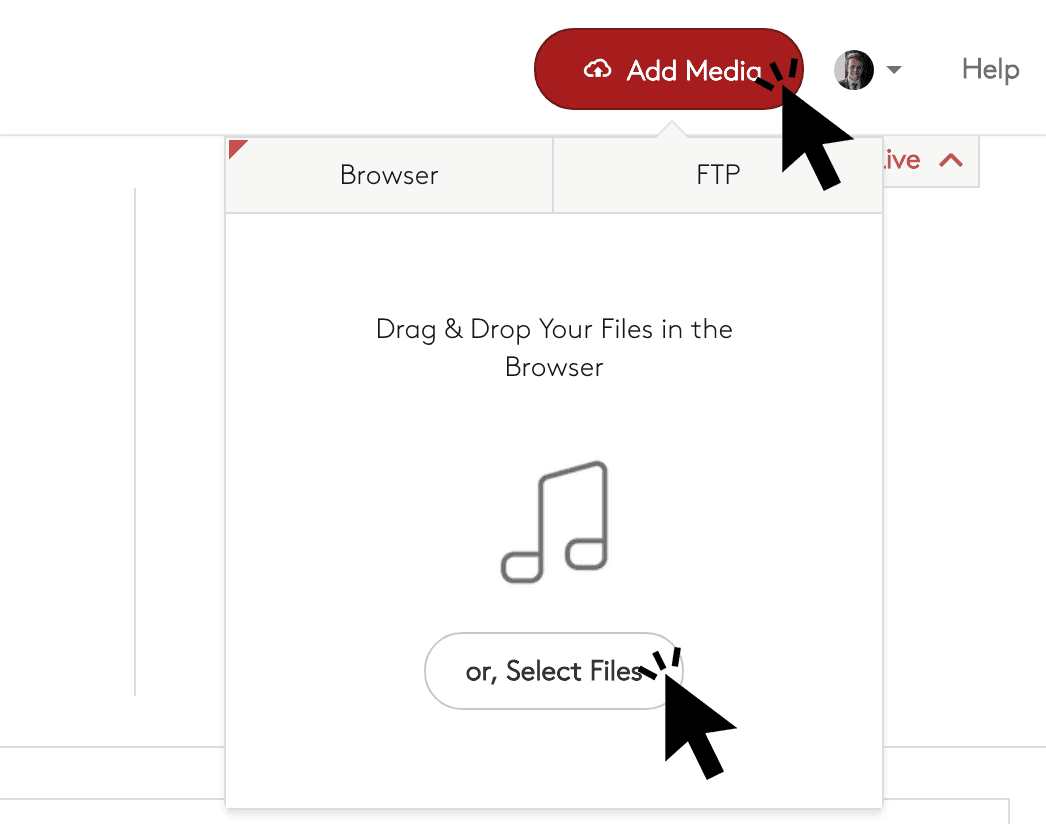 Uploading media files via the browser in Radio.co