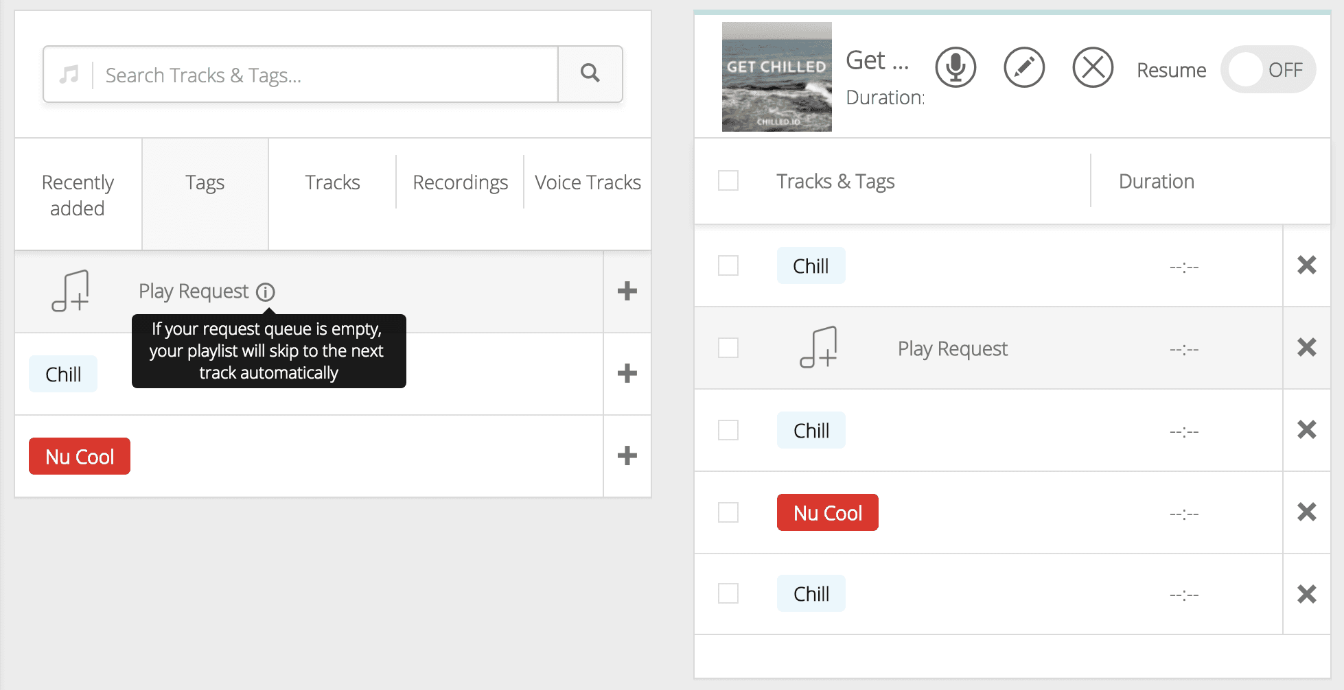 Adding the special request tag to a playlist