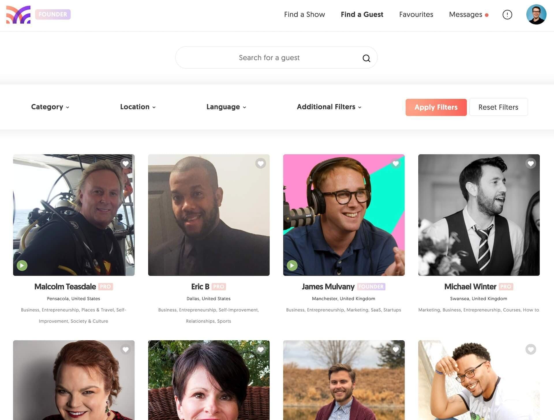 MatchMaker.fm guest profiles