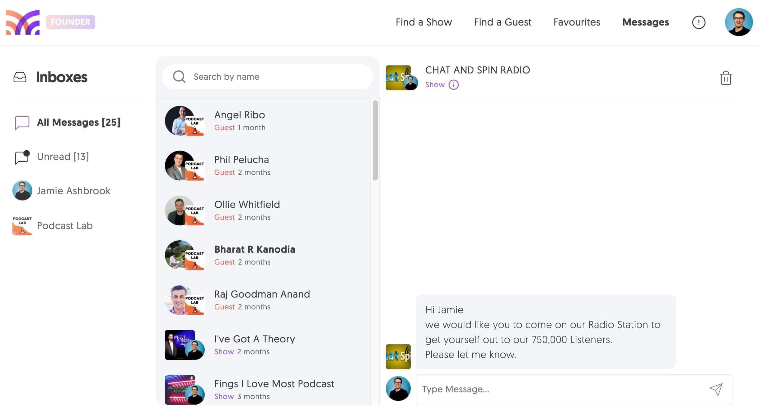 Messages on MatchMaker.fm
