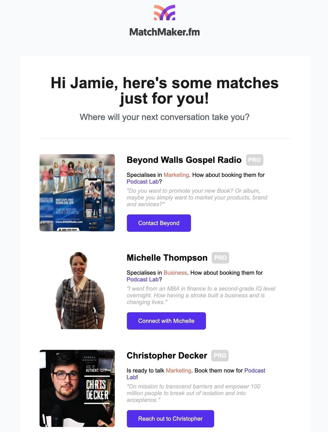 MatchMaker guest recommendations