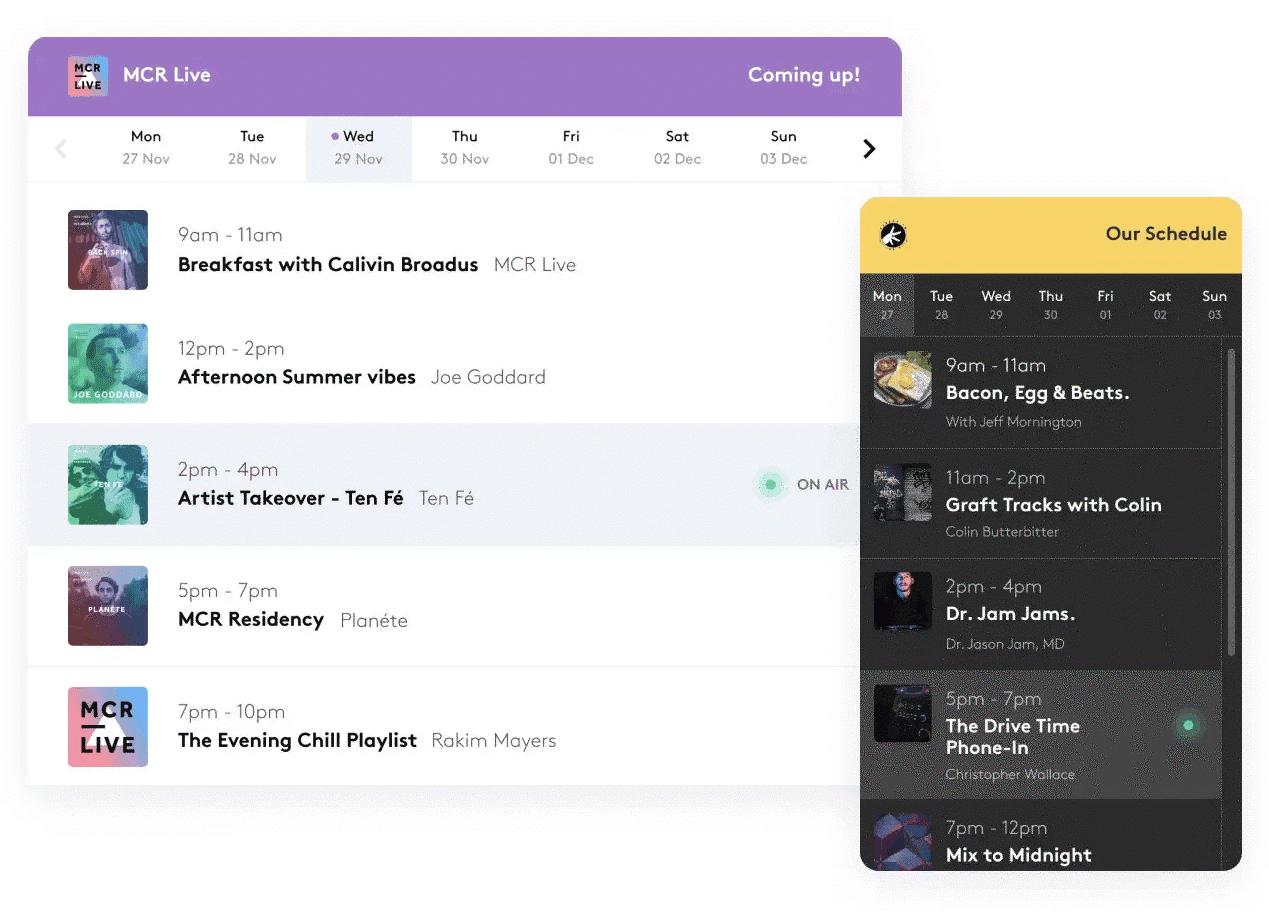 Radio schedule widgets in action