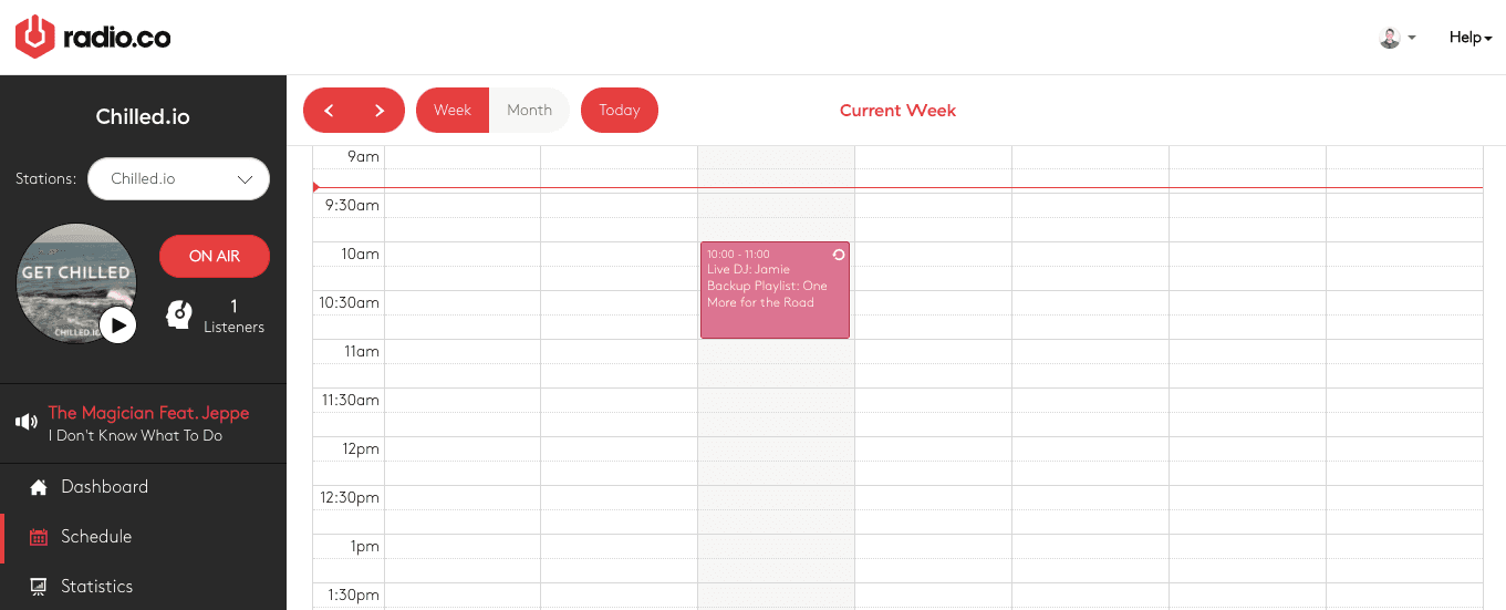 User view of scheduled event