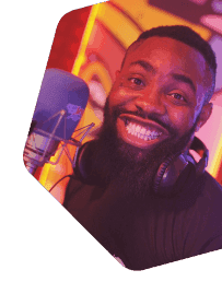Smiling radio broadcaster